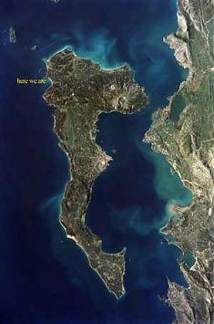 """Buchtlage siehe """"here are we"""", Urlaub Korfu, Bucht Agios Georgios"""